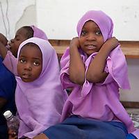 Jambiani, Zanzibar, Tanzania.  Muslim Schoolgirls.