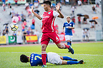 Hok Ming Lau of Kwoon Chung Southern (R) fights for the ball with Wang Kit Tsui of Rangers (L) competes in the week two Premier League match between Kwoon Chung Southern and BC Rangers at on September 09, 2017 in Hong Kong, China. Photo by Marcio Rodrigo Machado / Power Sport Images