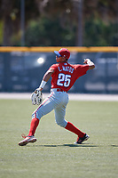 Philadelphia Phillies Luis Matos (25) before a Minor League Extended Spring Training game against the Pittsburgh Pirates on May 3, 2018 at Pirate City in Bradenton, Florida.  (Mike Janes/Four Seam Images)