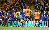 17th July 2021; Brisbane, Australia;  Australia's Marika Koroibete receives a red card and leaves the field during the Australia versus France, 3rd Rugby Test at Suncorp Stadium, Brisbane, Australia on Saturday 17th July 2021.