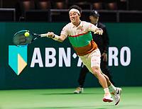 Rotterdam, The Netherlands, 12 Februari 2019, ABNAMRO World Tennis Tournament, Ahoy, first round singles: Kei Nishikori (JPN) in his first match against Pierre-Hugues Herbert (FRA),<br /> Photo: www.tennisimages.com/Henk Koster
