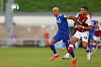 5th September 2020; PTS Academy Stadium, Northampton, East Midlands, England; English Football League Cup, Carabao Cup, Northampton Town versus Cardiff City; Robert Glatzel of Cardiff City competes for the ball with Luka Racic of Northampton Town