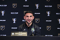 SEATTLE, WA - NOVEMBER 7: Cristian Roldan #7 of the Seattle Sounders FC at Grand Hyatt Seattle on November 7, 2019 in Seattle, Washington.