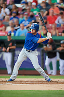 South Bend Cubs right fielder Brandon Hughes (19) at bat during a game against the Kane County Cougars on July 21, 2018 at Northwestern Medicine Field in Geneva, Illinois.  South Bend defeated Kane County 4-2.  (Mike Janes/Four Seam Images)