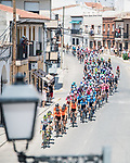 The peloton during Stage 5 of La Vuelta d'Espana 2021, running 184.4km from Tarancón to Albacete, Spain. 18th August 2021.    <br /> Picture: Charly Lopez/Unipublic   Cyclefile<br /> <br /> All photos usage must carry mandatory copyright credit (© Cyclefile   Unipublic/Charly Lopez)