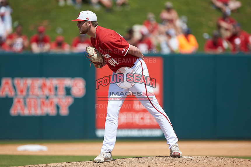 North Carolina State Wolfpack relief pitcher Kent Klyman (44) looks to his catcher for the sign against the Army Black Knights at Doak Field at Dail Park on June 3, 2018 in Raleigh, North Carolina. The Wolfpack defeated the Black Knights 11-1. (Brian Westerholt/Four Seam Images)