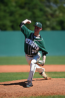 Plymouth State Panthers pitcher Michael Welch (20) during the second game of a doubleheader against the Edgewood Eagles on March 17, 2015 at Terry Park in Fort Myers, Florida.  Edgewood defeated Plymouth State 9-2.  (Mike Janes/Four Seam Images)