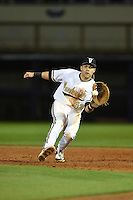 Vanderbilt Commodores infielder Zander Wiel (43) fields a ground ball during a game against the Indiana State Sycamores on February 20, 2015 at Charlotte Sports Park in Port Charlotte, Florida.  Vanderbilt defeated Indiana State 3-2.  (Mike Janes/Four Seam Images)