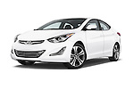 Stock pictures of low aggressive front three quarter view of a 2015 Hyundai Elantra Sport 4 Door Sedan Low Aggressive