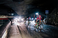 Lawson Craddock (USA/Education First-Drapac) rolling through a spectacular huge/dark cave: the 'Grotte du Mas-d'Azil'<br /> <br /> Stage 16: Carcassonne > Bagnères-de-Luchon (218km)<br /> <br /> 105th Tour de France 2018<br /> ©kramon