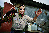 Sabirabad /Azerbaijan.<br /> Anziana donna di etnia azera in un campo profughi a 200 km da Baku. Vive dal 1994 con altri 14.000 profughi nelle baracche costruite al tempo della guerra con l'Armenia e si lamenta delle terribili condizioni di vita. Refugee camp 200 km from baku with 14.000 internally desplaced persons fled from Nagorno Karabakh during the war with Armenia in 1994.<br /> Photo Livio Senigalliesi