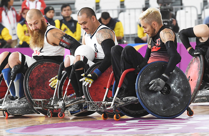 Trevor Hirschfield, Lima 2019 - Wheelchair Rugby // Rugby en fauteuil roulant.<br /> Canada takes on the USA in wheelchair rugby // Le Canada affronte les États-Unis au rugby en fauteuil roulant. 27/08/2019.