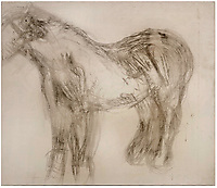 BNPS.co.uk (01202 558833)<br /> Pic: ChiswickAuctions/BNPS<br /> <br /> Pictured: An abandoned drawing of a horse by Lucian Freud together with painting materials he also left behind have sold at auction for £80,000. The celebrated British artist gave up on his study of the horse called Goldie halfway through as he decided he didn't like her personality.He left the unfinished work at the Wormwood Scrubs Pony Centre in west London along with his easel, palette and paint brushes. The items have now sold at Chiswick Auctions.