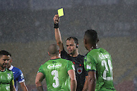 BOGOTA -COLOMBIA, 28-02-2017. Gustavo Gonzalez cenral referee shows the yellow card to Andres Correa player of La Equidad.Action game between Millonarios and Equidad during match  for the date 6 of the Aguila League I 2017 played at Nemesio Camacho El Campin stadium . Photo:VizzorImage / Felipe Caicedo  / Staff