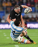 12th September 2021; Cbus Super Stadium, Robina, Queensland, Australia; Rugby International series, New Zealand versus Argentina:  Brodie Retallick brought down by the tackle from Petti Pagadizabal