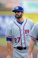 Round Rock Express pitcher Richard Bleier #27 during a game against the New Orleans Zephyrs on April 15, 2013 at Zephyr Field in New Orleans, Louisiana.  New Orleans defeated Round Rock 3-2.  (Mike Janes/Four Seam Images)