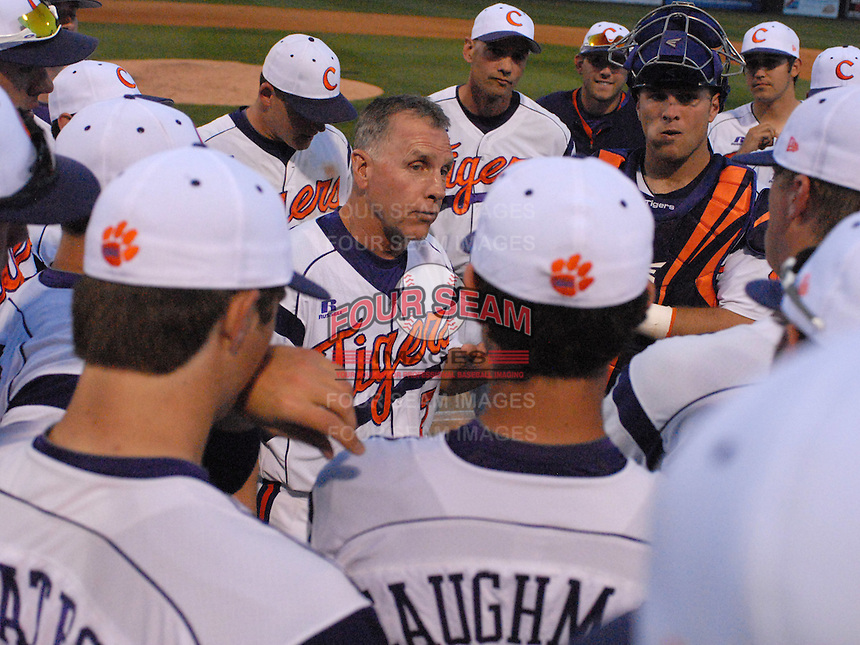 Head coach Jack Leggett (7) of the Clemson Tigers talks to his team after the Tigers defeated the Elon College Phoenix on March 21, 2012, at Fluor Field at the West End in Greenville, South Carolina. Clemson's 4-2 win gave Leggett his 1,200th career win. (Tom Priddy/Four Seam Images)