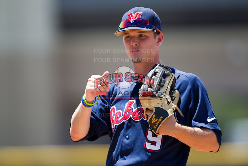 Outfielder Auston Bousfield #9 of the Ole Miss Rebels during the NCAA Regional baseball game against the Texas Christian University Horned Frogs on June 1, 2012 at Blue Bell Park in College Station, Texas. Ole Miss defeated TCU 6-2. (Andrew Woolley/Four Seam Images).