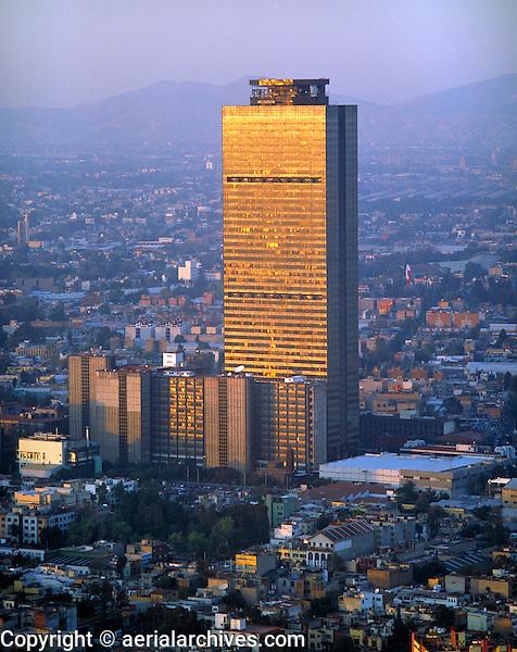 aerial photograph of the PEMEX Petróleos Mexicanos headquarters tower, Mexico City at sunset | fotografía aérea de la torre de la sede de PEMEX, Ciudad de México