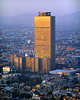 aerial photograph of the PEMEX Petróleos Mexicanos headquarters tower, Mexico City at sunset | fotografía aérea de la torre de la sede de PEMEX, Ciudad de México