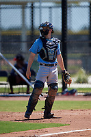 Tampa Bay Rays catcher Jordyn Muffley (69) during a Minor League Extended Spring Training game against the Atlanta Braves on April 15, 2019 at CoolToday Park Training Complex in North Port, Florida.  (Mike Janes/Four Seam Images)