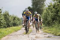 Benjamin Declercq  (BEL/Sport Vlaanderen-Baloise) flying over the gravel<br /> <br /> Dwars door het Hageland (1.1)<br /> 1 Day Race: Aarschot > Diest (194km)