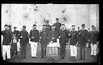 Frederick Stone negative. Co. A. Niantic 1888. Left to right, Ed Hart, Fred Miller, Fred LaForge, Bob Bailey.