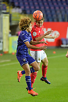 Anderlecht's midfielder Kassandra Missipo  (L) and Benfica's midfielder Andreia Faria (R)  pictured during a female soccer game between RSC Anderlecht Dames and Portugese Benfica Ladies  in the second qualifying round for the Uefa Womens Champions League of the 2020 - 2021 season , Wednesday 18 th of November 2020  in ANDERLECHT , Belgium . PHOTO SPORTPIX.BE | SPP | DIRK VUYLSTEKE