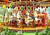Liz,LANDSCAPES, LANDSCHAFTEN, PAISAJES, LizDillon,funfair,carousel, paintings+++++,USHCLD0308,#L#, EVERYDAY ,puzzle,puzzles