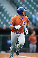 Durham Bulls first baseman J.P. Arencibia (16) runs to first while watching a home run during a game against the Buffalo Bisons on June 13, 2016 at Coca-Cola Field in Buffalo, New York.  Durham defeated Buffalo 5-0.  (Mike Janes/Four Seam Images)