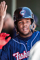 31 May 2018: New Hampshire Fisher Cats third baseman Vladimir Guerrero Jr. returns to the dugout after scoring in the first inning against the Portland Sea Dogs at Northeast Delta Dental Stadium in Manchester, NH. The Sea Dogs defeated the Fisher Cats 12-9 in extra innings. Mandatory Credit: Ed Wolfstein Photo *** RAW (NEF) Image File Available ***