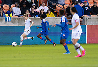 HOUSTON, TX - JANUARY 28: Emily Sonnett #2 of the United States passes the ball during a game between Haiti and USWNT at BBVA Stadium on January 28, 2020 in Houston, Texas.
