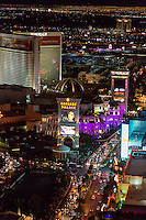 Las Vegas, Nevada at Night, from the Eiffel Tower, looking north on The Strip.