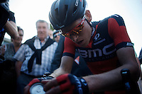race winner Ben Hermans (BEL/BMC) catching his breath immediately after crossing the finish line<br /> <br /> 55th Brabantse Pijl 2015
