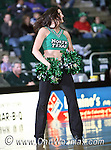 North Texas Mean Green dance team member performs during the game between the Jackson State Tigers and the University of North Texas Mean Green at the North Texas Coliseum,the Super Pit, in Denton, Texas. UNT defeated Jackson 68 to 49