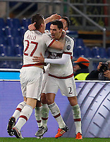 Calcio, Serie A: Roma vs Milan. Roma, stadio Olimpico, 9 gennaio 2016.<br /> AC Milan's Juraj Kucka, left, celebrates with teammates Mattia De Sciglio, center, and Andrea Bertolacci after scoring during the Italian Serie A football match between Roma and Milan at Rome's Olympic stadium, 9 January 2016.<br /> UPDATE IMAGES PRESS/Riccardo De Luca