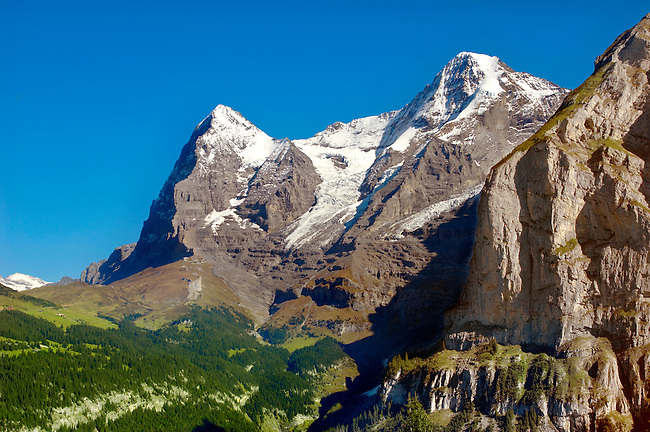The Eiger (left) & Jungfrau (Right) from Murren - Alps Switzerland