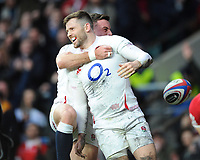 Elliot Daly of England celebrates scoring a try with George Ford of England  during the Guinness Six Nations match between England and Wales at Twickenham Stadium on Saturday 7th March 2020 (Photo by Rob Munro/Stewart Communications)