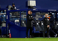 17th February 2021; The Kiyan Prince Foundation Stadium, London, England; English Football League Championship Football, Queen Park Rangers versus Brentford; Brentford Manager Thomas Frank looks on from the dugout