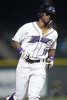 Ti'Quan Forbes (10) of the Winston-Salem Dash rounds the bases after hitting a home run against the Down East Wood Ducks at BB&T Ballpark on May 12, 2018 in Winston-Salem, North Carolina. The Wood Ducks defeated the Dash 7-5. (Brian Westerholt/Four Seam Images)