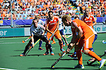 The Hague, Netherlands, June 13: Dan Fox #27 of England and Valentin Verga #10 of The Netherlands look on during the field hockey semi-final match (Men) between The Netherlands and England on June 13, 2014 during the World Cup 2014 at Kyocera Stadium in The Hague, Netherlands. Final score 1-0 (1-0)  (Photo by Dirk Markgraf / www.265-images.com) *** Local caption ***