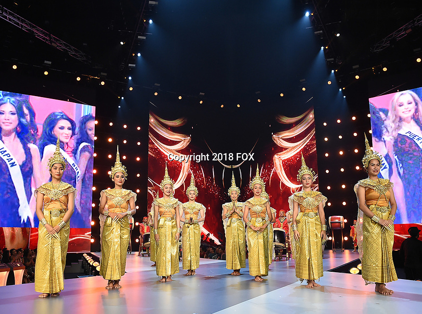 BANGKOK, THAILAND - DECEMBER 16: 2018 MISS UNIVERSE: Thai dancers during rehearsals for the 2018 MISS UNIVERSE competition at the Impact Arena in Bangkok, Thailand on December 16, 2018. Miss Universe will air live on Sunday, Dec. 16 (7:00-10:00 PM ET live/PT tape-delayed) on FOX.  (Photo by Frank Micelotta/FOX/PictureGroup)