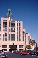 Los Angeles:  Eastern Columbia Building, 849 S. Broadway.Art Deco style.  Claud Beelman 1929.  Photo Dec. 1987.