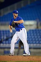 Dunedin Blue Jays relief pitcher Jackson McClelland delivers a pitch during a game against the Jupiter Hammerheads on August 14, 2018 at Dunedin Stadium in Dunedin, Florida.  Jupiter defeated Dunedin 5-4 in 10 innings.  (Mike Janes/Four Seam Images)