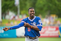 Darnell Sweeney (9) of the Oklahoma City Dodgers  between innings during the game against the Salt Lake Bees in Pacific Coast League action at Smith's Ballpark on May 25, 2015 in Salt Lake City, Utah.  (Stephen Smith/Four Seam Images)