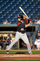 Richmond Flying Squirrels designated hitter Chris Shaw (43) at bat during a game against the Akron RubberDucks on July 26, 2016 at Canal Park in Akron, Ohio .  Richmond defeated Akron 10-4.  (Mike Janes/Four Seam Images)