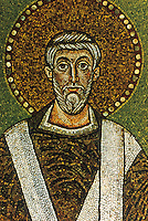 Ravenna: Basilica of Sant' Apollinare.  Mosaic of Saint Apollinare, Classe. 6th century.