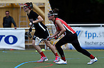 GER - Hannover, Germany, May 30: During the Women Lacrosse Playoffs 2015 match between DHC Hannover (black) and SC Frankfurt 1880 (red) on May 30, 2015 at Deutscher Hockey-Club Hannover e.V. in Hannover, Germany. Final score 23:3. (Photo by Dirk Markgraf / www.265-images.com) *** Local caption *** Mareile Kriwall #2 of DHC Hannover, Elisabeth Benazir Lippert #2 of SC 1880 Frankfurt
