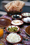 A traditional breakfast of cheese,olives and eggs served in the  courtyard in the Antique Khan Hotel in the Jewish Quarter of the Old City.
