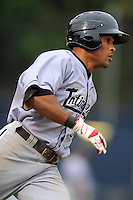 Kannapolis Intimidators second baseman Micah Johnson #37 runs to first during a game against the Asheville Tourists at McCormick Field on May 10, 2013 in Asheville, North Carolina. The Intimidators won the game 5-2. (Tony Farlow/Four Seam Images).